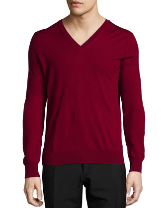 Dockley Wool V-Neck Sweater, Dark Red