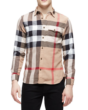 Long-Sleeve Exploded Check Sport Shirt, Tan