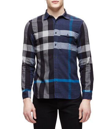 Long-Sleeve Exploded Check Sport Shirt, Blue