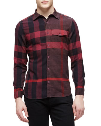 Long-Sleeve Exploded Check Sport Shirt, Burgundy