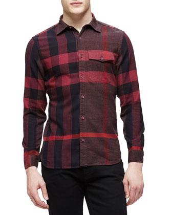 Long-Sleeve Exploded Check Sport Shirt, Burgundy
