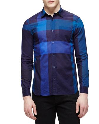 Long-Sleeve Check Sport Shirt, Navy