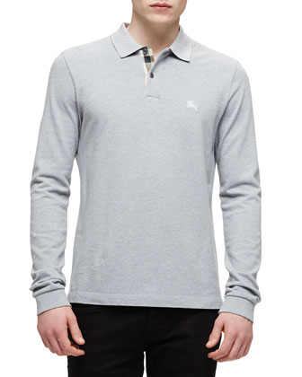 Long-Sleeve Pique Polo Shirt, Gray