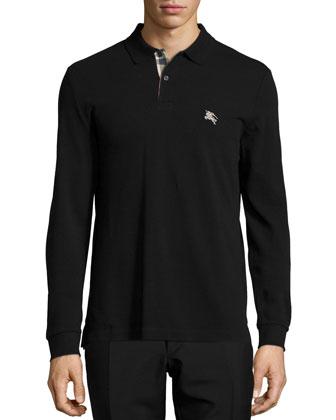 Long-Sleeve Pique Polo Shirt, Black