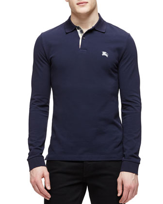 Long-Sleeve Pique Polo Shirt, Navy