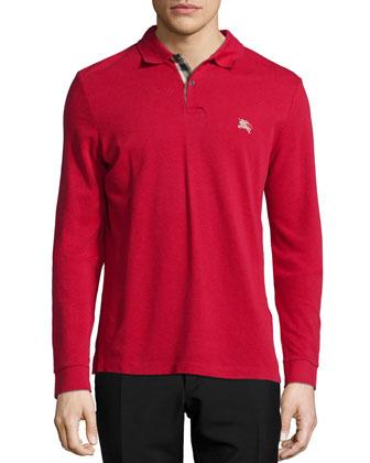 Long-Sleeve Pique Polo Shirt, Red