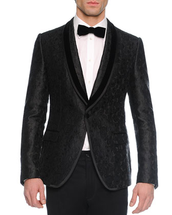 Brocade-Print Evening Jacket, Long-Sleeve Woven Shirt, Solid Velvet Bow Tie ...