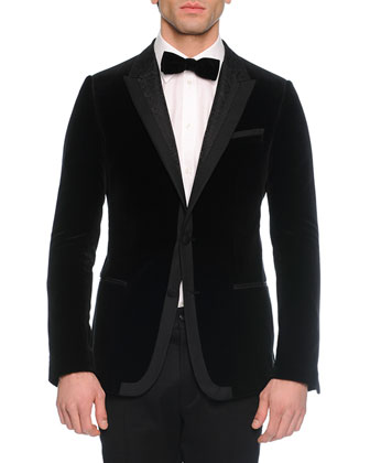 Velvet Evening Jacket, Long-Sleeve Woven Shirt, Solid Velvet Bow Tie & ...