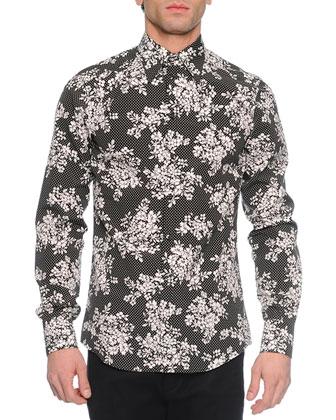 Dot & Floral Print Long-Sleeve Sport Shirt, Black/White