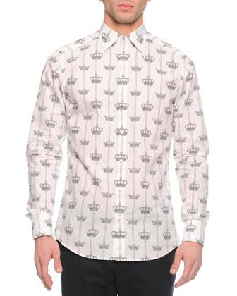 Crown-Print Sport Shirt, White/Black