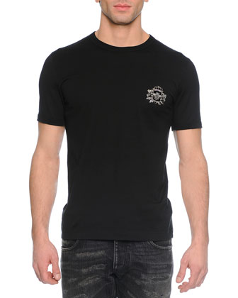 Woven Crewneck Tee with Crown, Black