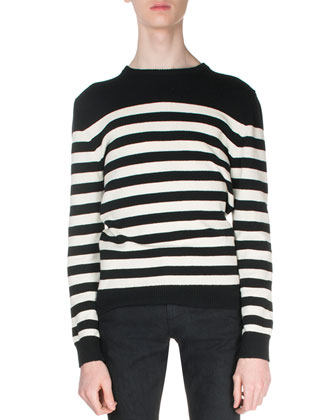 Striped Cashmere Sweater, Black/White