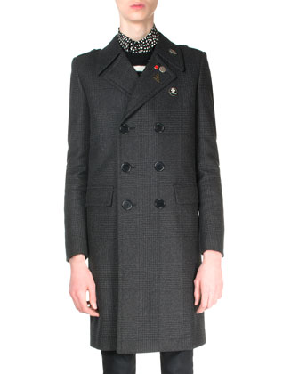 Double-Breasted Plaid Wool Coat, Black