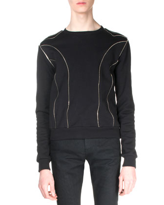 Allover Zipper Detail Sweatshirt & Split-Knee Destroyed Denim Jeans