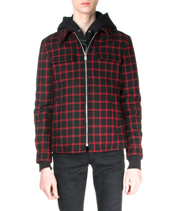 Check Zip-Up Trapper Jacket, Black/Red