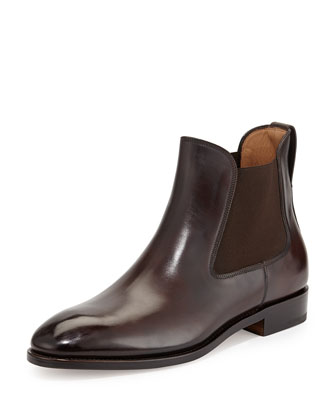 Marrico Tramezza Burnished Calfskin Chelsea Boot, Chocolate
