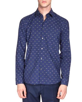 Eye-Print Poplin Shirt, Blue