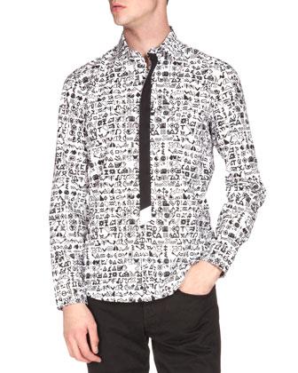 Symbol-Print Button-Down Shirt, White/Black