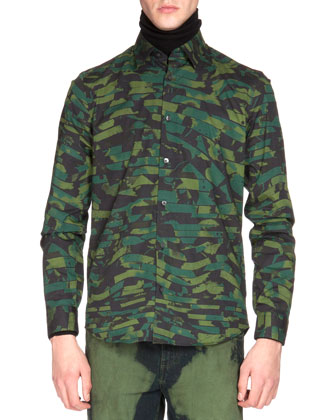 Nylon Bomber Jacket with Contrast Fur Collar, Camo-Print Button-Down Shirt ...