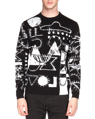 UFO & Symbol-Print Crewneck Sweater, Black/White