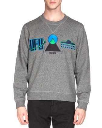 UFO Symbol Sweatshirt & Brushed-Cotton Chino Pants