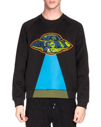 UFO Patch Knit Sweatshirt & Textured Drawstring Jogging Pants