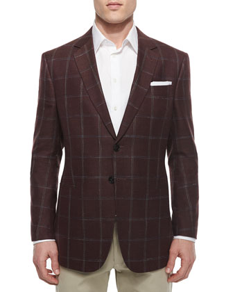 Windowpane Two-Button Jacket, Brown/Blue