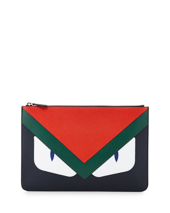 Monster Leather Pouch, Blue/Orange