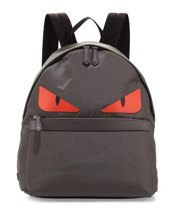 Monster Nylon Backpack, Gray/Red