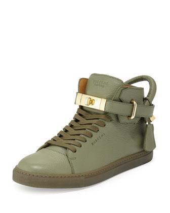 Calfskin Leather High-Top Sneaker