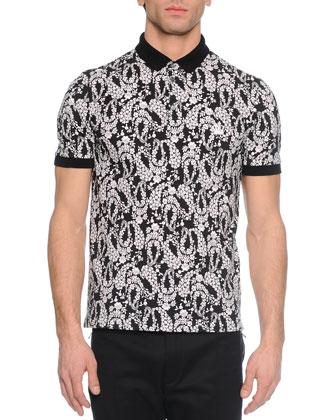 Floral-Print Short-Sleeve Polo Shirt, Black