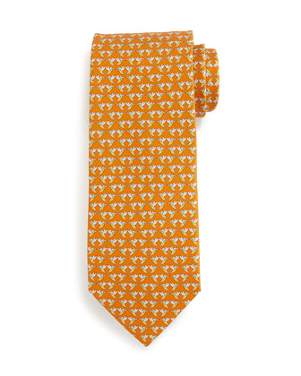 Hummingbird-Print Silk Tie, Orange