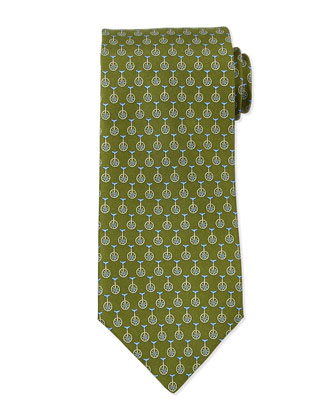 Unicycle-Print Silk Tie, Green