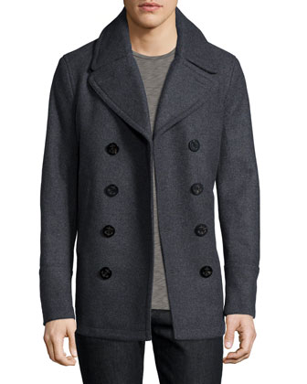 Eckford Melange Double-Breasted Pea Coat, Dark Gray