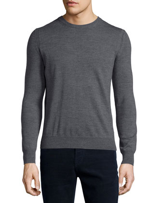 Drewett Long-Sleeve Wool Sweater, Gray