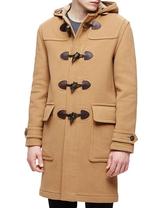 Hooded Duffle Long Coat, Camel
