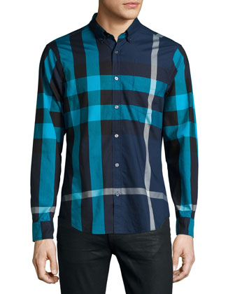 Fred Exploded Check Long-Sleeve Shirt, Navy