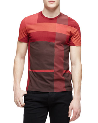 Check Graphic Short-Sleeve Tee, Red