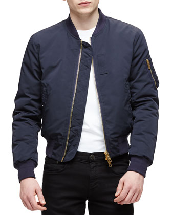 Nylon Blouson Jacket, Navy