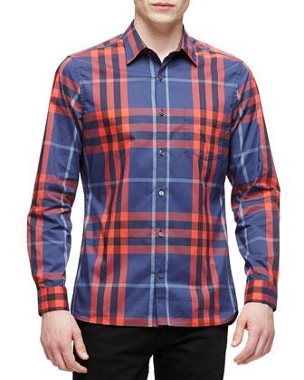 Woven Long-Sleeve Check Sport Shirt, Indigo