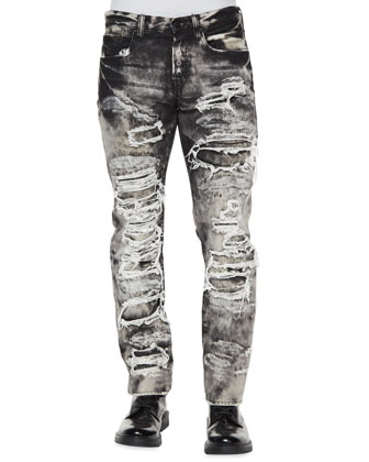 Dalia Destroyed & Distressed Denim Jeans, Black/White