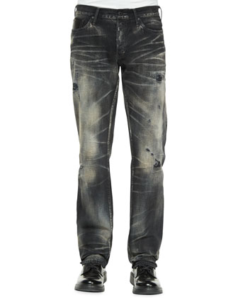 Jacinta Distressed & Faded Denim Jeans, Black/White