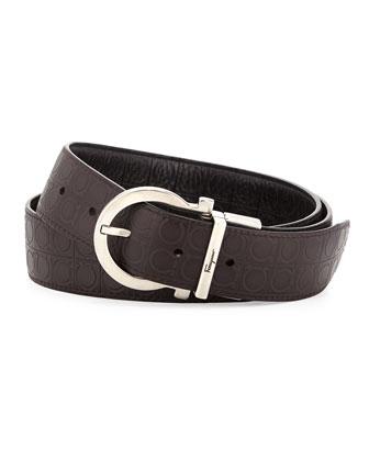 Embossed Gancini Reversible Belt, Black/Light Brown