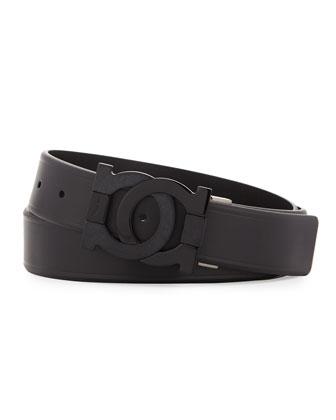 Smooth Leather Double-Gancini Belt, Black