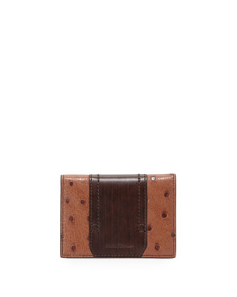 Ostrich and Calfskin Card Case, Brown