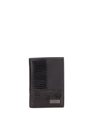 Patchwork Bi-Fold Card Case, Black