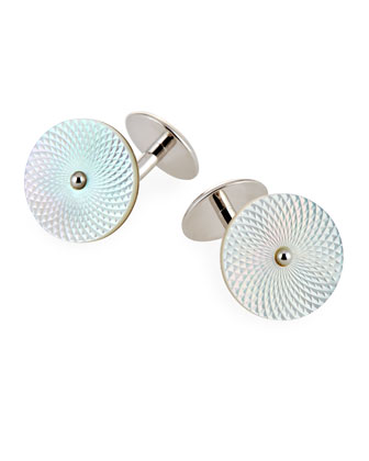 Mother-of-Pearl Silver Disc Cuff Links