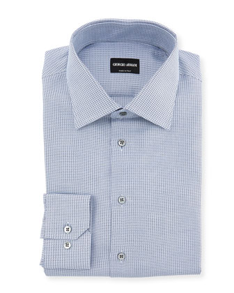 Neat Woven Dress Shirt, White/Navy