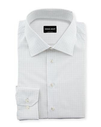 Box-Print Jacquard Dress Shirt, White