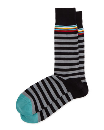 Multi 2 Stripe Socks, Black